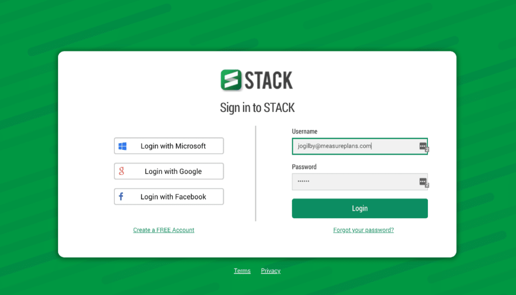 New STACK Sign In Page